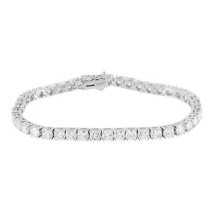 Master Of Bling Solitaire Tennis Bracelet Women 1 Row 14k White Gold 4mm Genuine Diamond 7.25 Ct