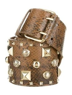 Matthew Williamson Matthew Williamson Brown Leather Snake Print Gold Studded Wide Buckle Belt
