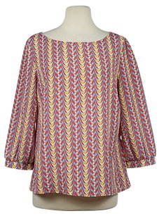 Maude Womens Printed Polyester Wtw 34 Sleeve Career Shirt Top Red