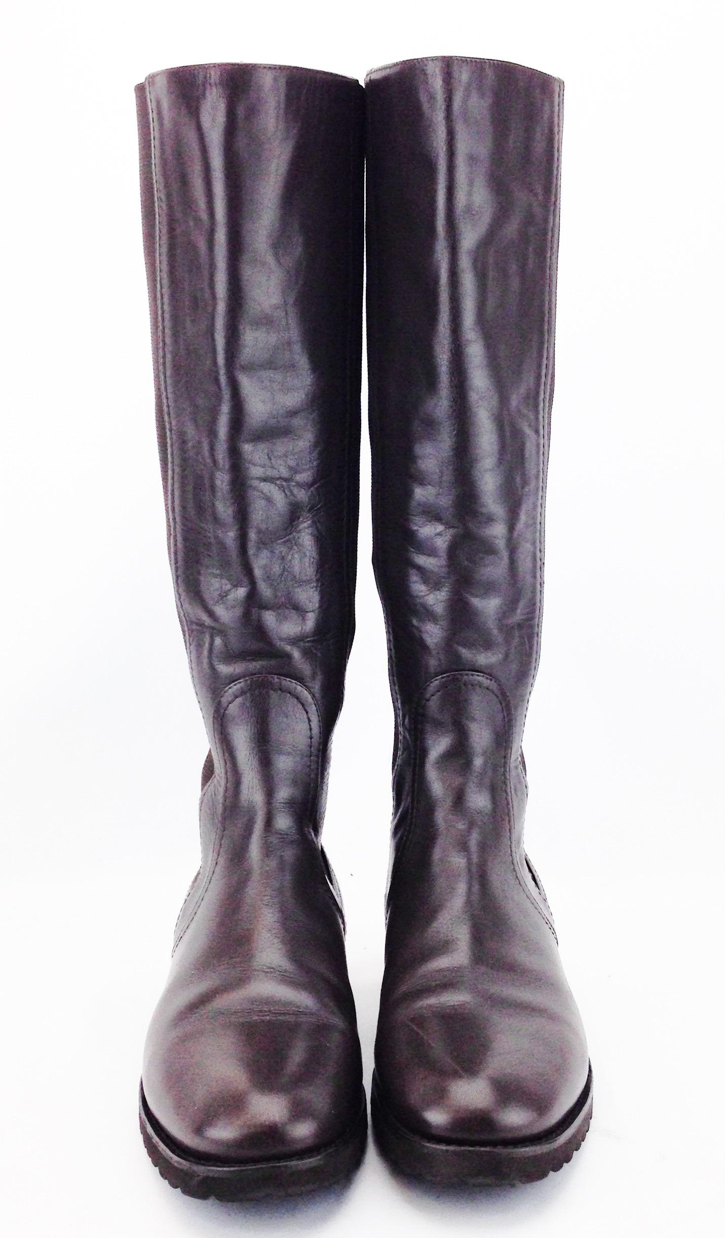 official MaxMara Leather Knee-High Boots free shipping view discount comfortable GHhmiWs
