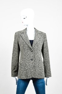 Max Mara Max Mara Black Cream Wool Boucle Long Sleeve Blazer Jacket