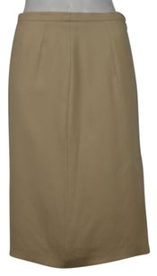 Max Mara Womens Solid Pencil Below Knee Career Wtw Skirt Beige