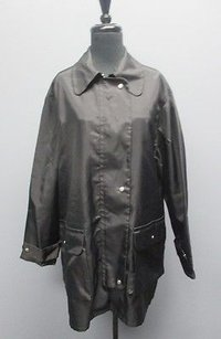 Max Studio Nylon Casual Zip And Button Front Long W Pockets Sm3812 Coat