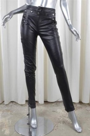 188a2e42f7f5 MCQ by Alexander McQueen Mcq By Alexander Mcqueen Black Leather Marine  Button Placket Pants 382 hot
