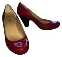 Me Too Patent Wooden Heel Red Pumps