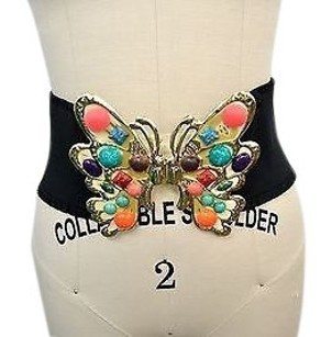 Meghan Meghan Black Wide Elastic Gold Tone Butterfly Detail Belt