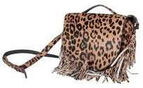 Meli Melo Tallulah Leopard Print Pony Hair Fringe Satchel Cross Body Bag