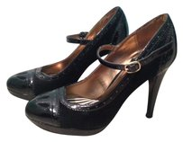 Merona Mary Jane Round Toe Pump BLACK PATENT FAUX LEATER SUEDE Pumps