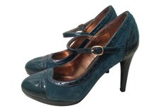 Merona Platform Strappy Round Toe TEAL FAUX SUEDE PATENT Pumps