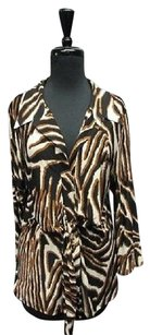 Mesmerize Animal Print Long Sleeves V Neck 5482 A Top Black/Brown