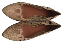 MIA Scalloped Brown Laser Cut Tan Flats
