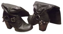 Mia Shoes Leather Heels Black Boots
