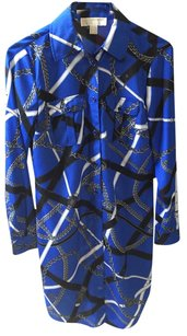 Michael by Michael Kors Mk Button Down Chains Belt Emblem Polyester Dress
