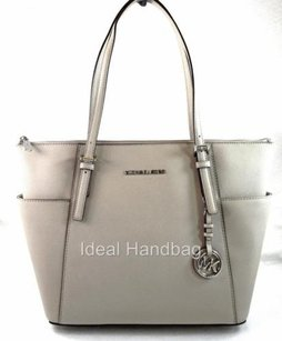 Michael Kors Leather Jet Set Tote in Gray