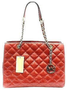 Michael Kors Red Gold Quilted Tote in Reds