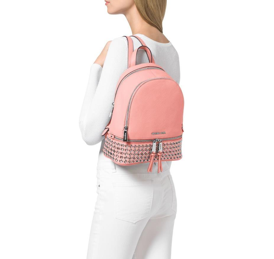 aea8f3d7c88f best price michael kors rhea zip grommet studded medium msrp pale pink leather  backpack tradesy 903a5