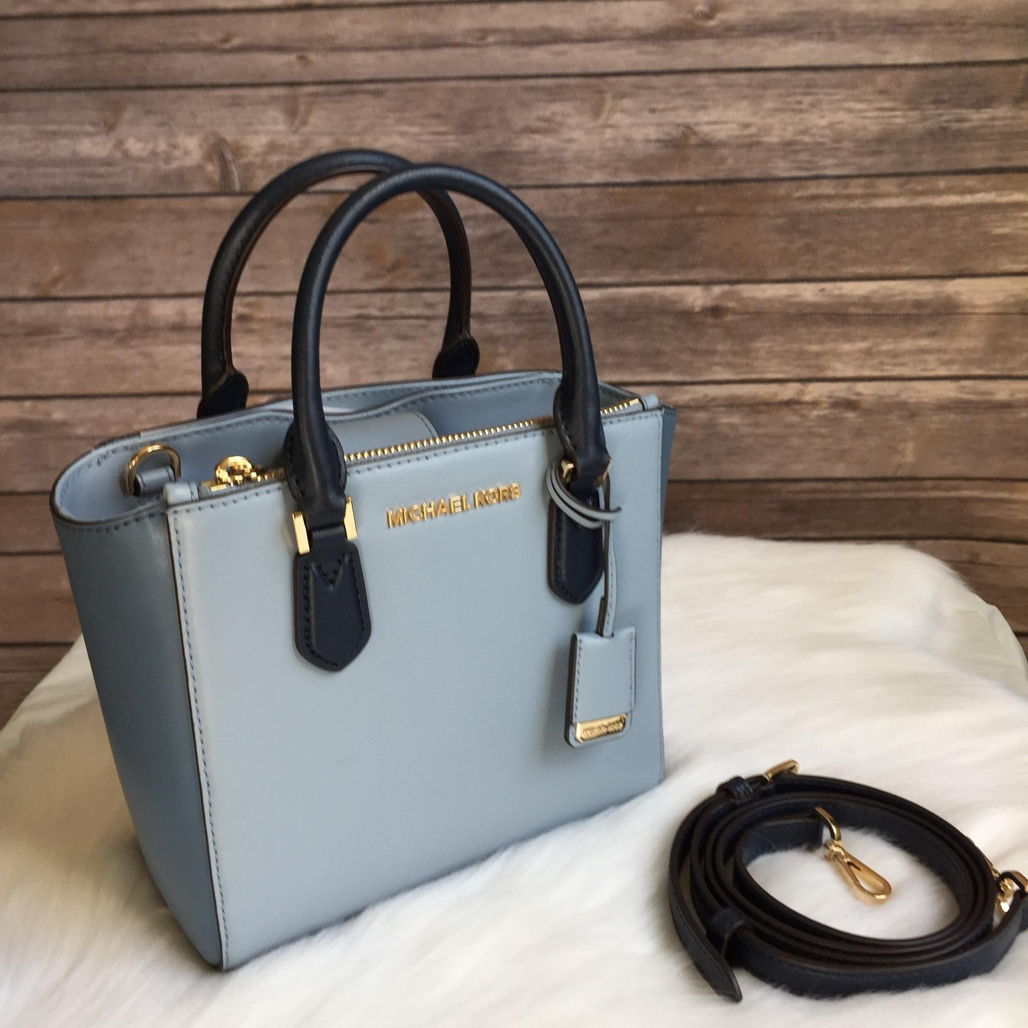 5805a362af41 ... leather crossbody bag gallery michael kors smythe small dome satchel  cb4d9 8c3dc; low price michael kors satchel in blue 0340f 76d73