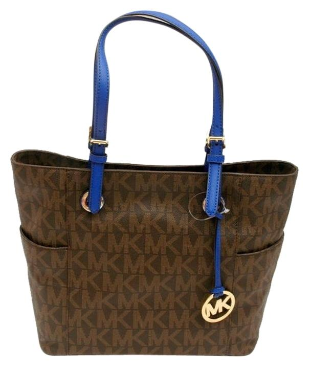 Michael Kors Collection Mk Signature Handles Medium Tote in Brown/St.Blue