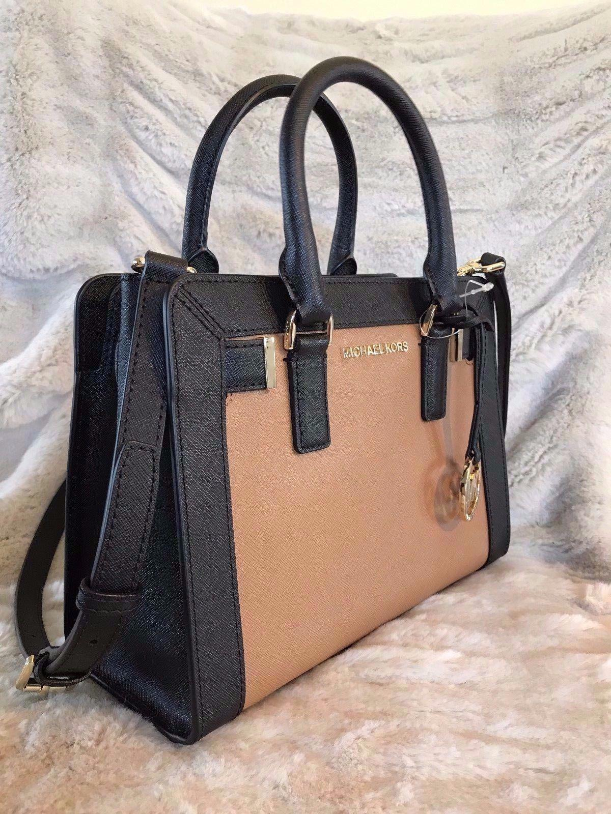 20355cb6d2eb ... sale michael kors dillon small monogram brown crossbody strap satchel  in black acorn. 1234567891011 29367