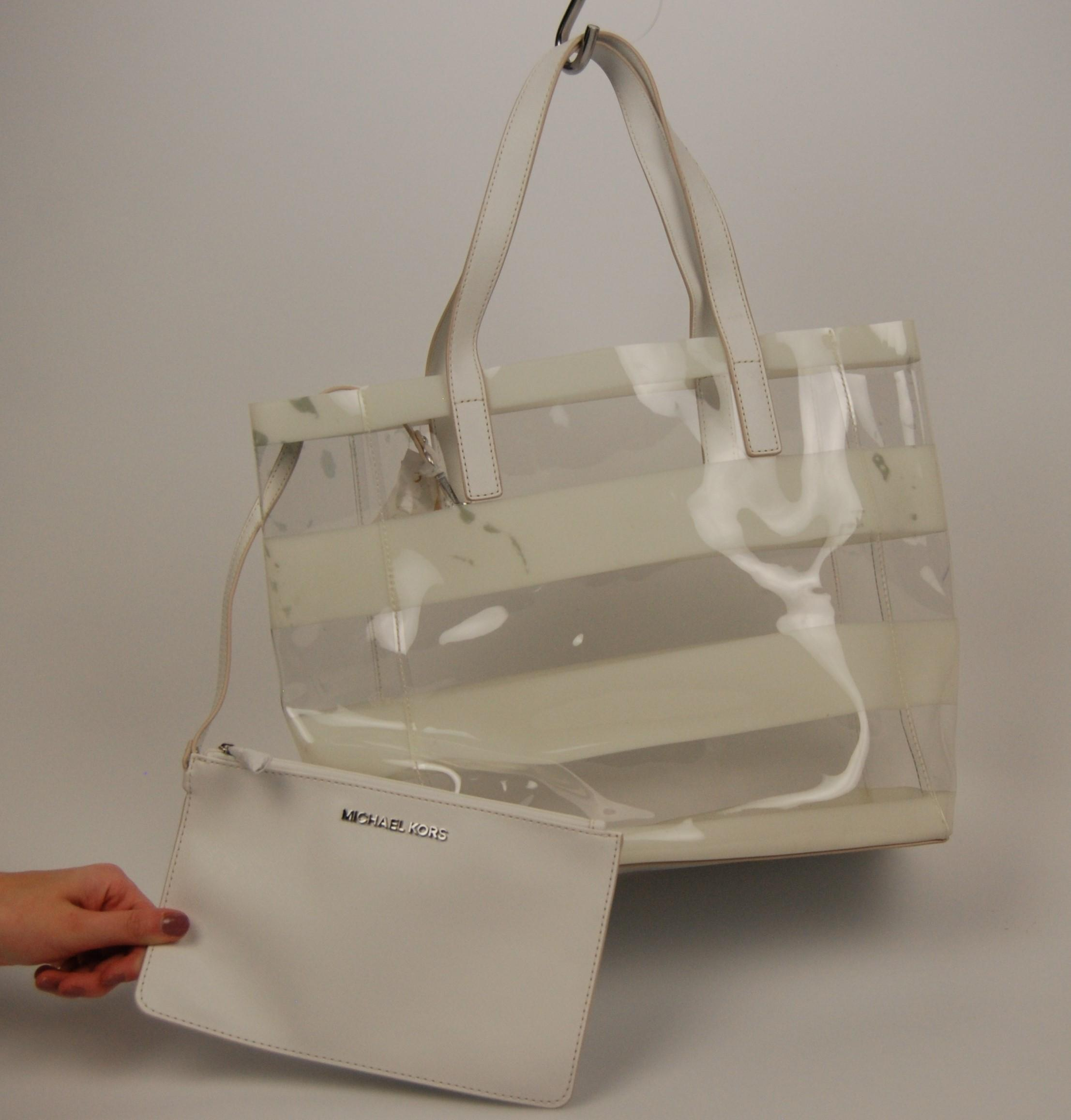 ad7621e5b3d6df ... top quality promo code for michael kors eliza tote in clear white.  a266b 73aff