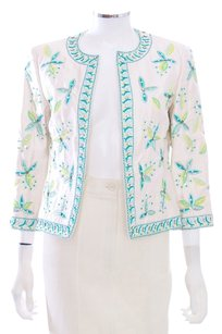 Michael Kors Embroidered Silk 3/4 Sleeve Rhinestone Coat Ivory Blazer