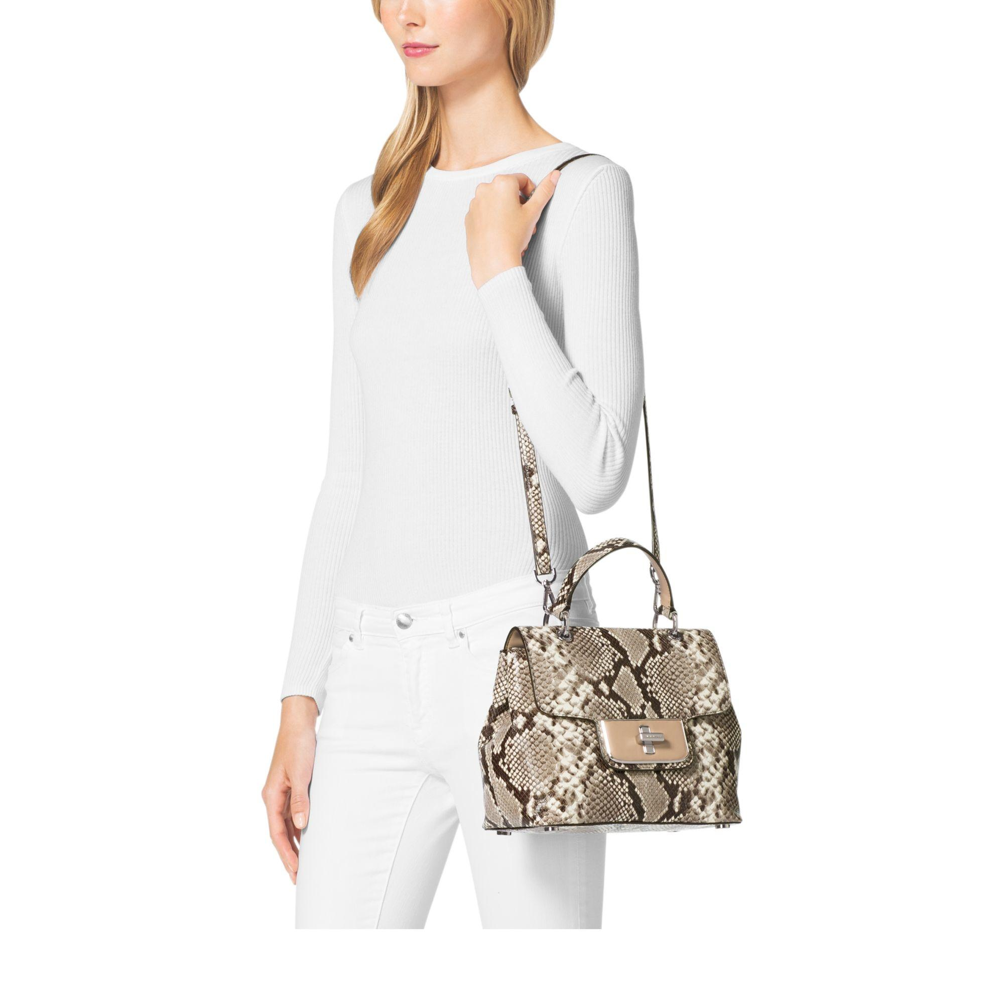 94e404ca13515d ... free shipping michael kors python emery embossed satchel in natural.