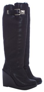 Michael Kors Faux Leather Faux Fur Wedge Structured Tall Metallic Silver Hardware Black Boots
