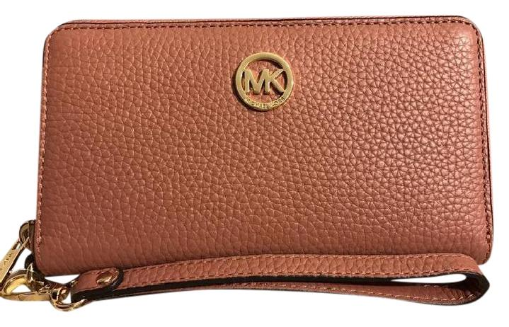 4e8726821a905c ... coupon code michael kors mk fulton lg leather 190049907122 wristlet in  antique rose c979e e9e1e
