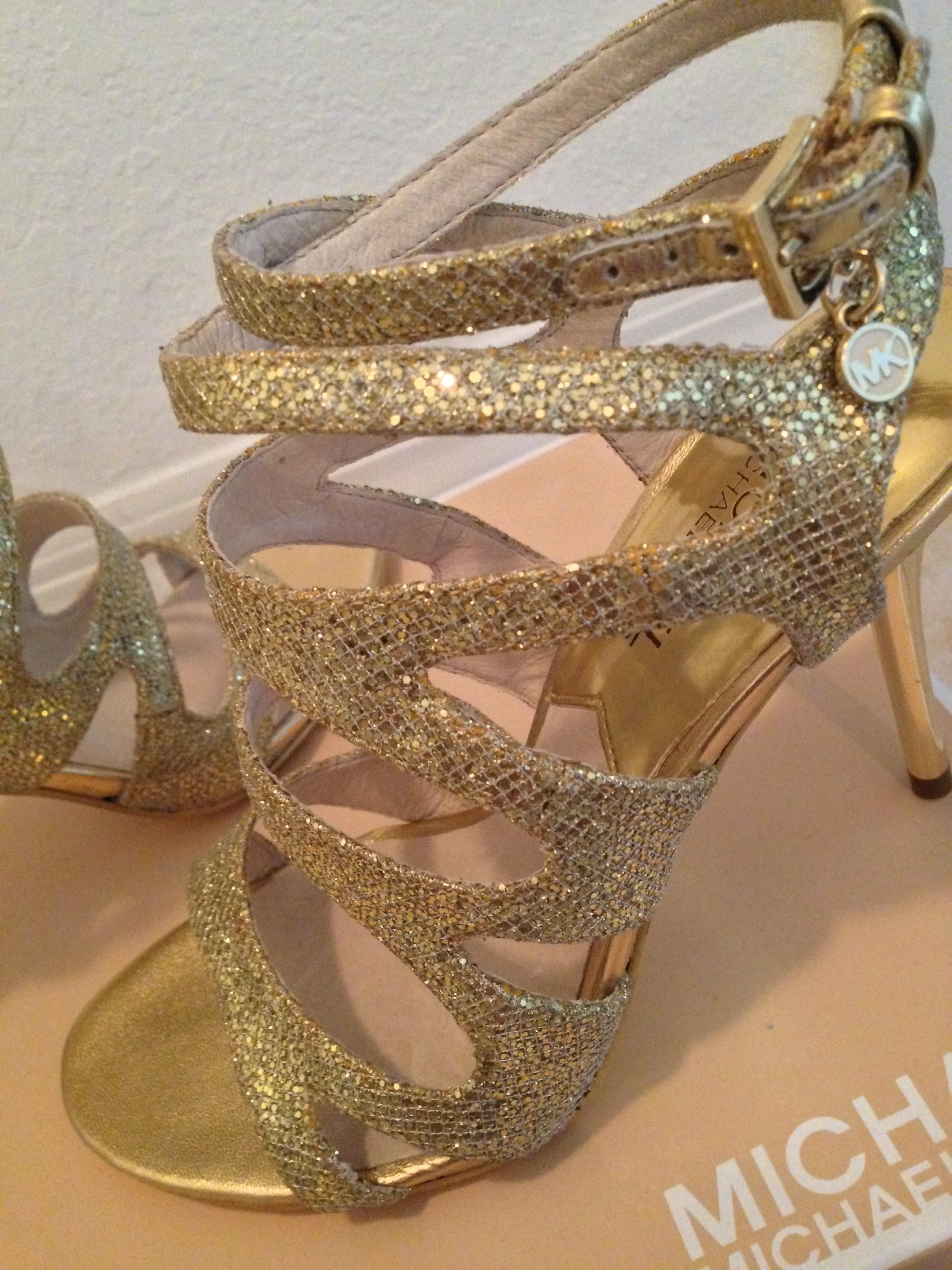 Michael Kors Gold Sparkling Open Toe Heels Designer Glitter Out Sandals  Size US 6.5