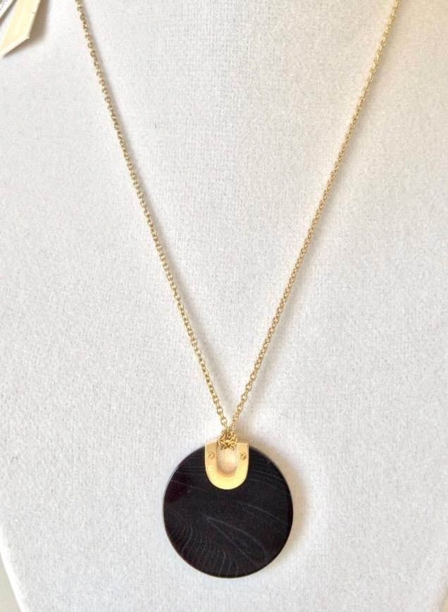 Michael Kors Gold-Tone Pave And Black Agate Pendant Necklace hwlkIxJ