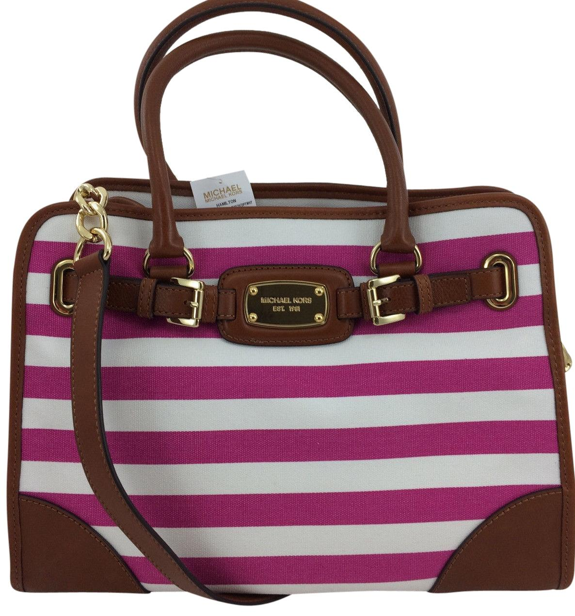 1fdf73e510ca ... shopping michael kors convertible shoulder east west hot pink tote in  fuchsia and white striped 2c0f5