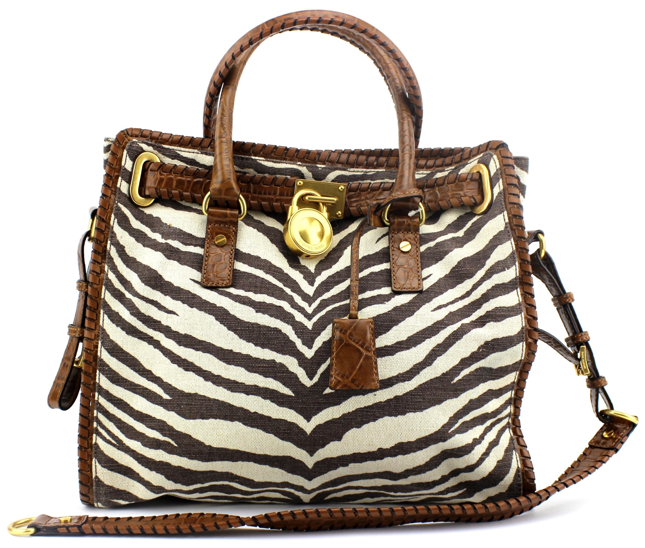 4243e0c10bb8 ... order michael kors hamilton tiger animal print large brown canvas leather  tote tradesy 27240 17fe9