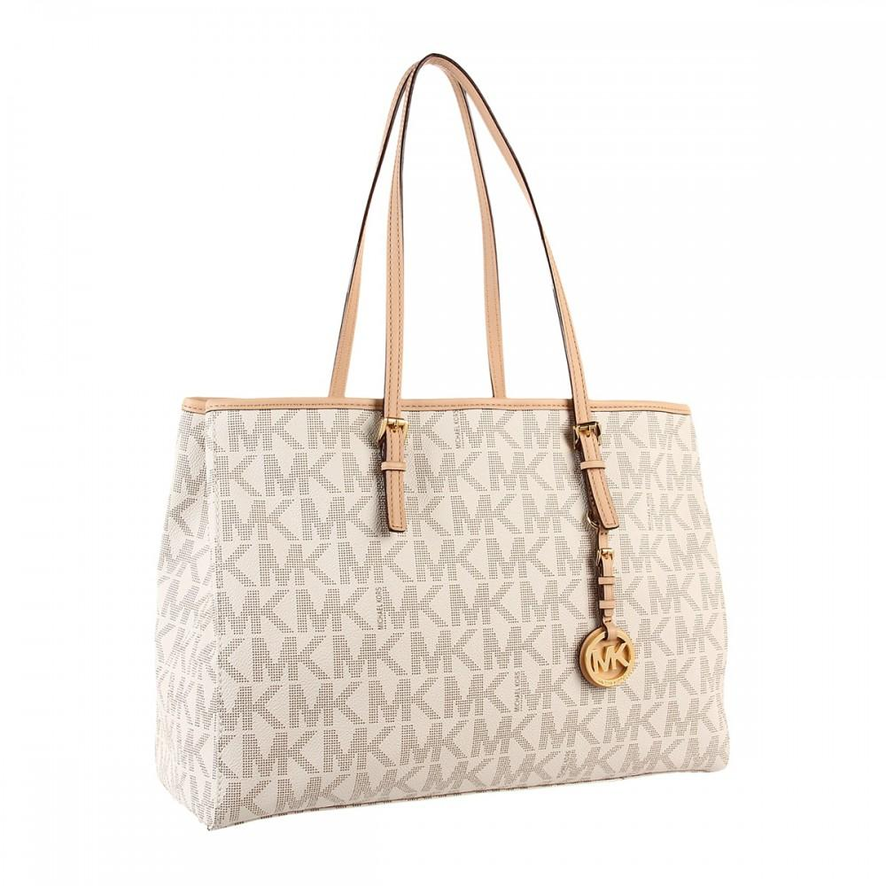 0820c2bb9624 ... clearance michael kors jet set travel east west cream tote in vanilla  e0629 76588