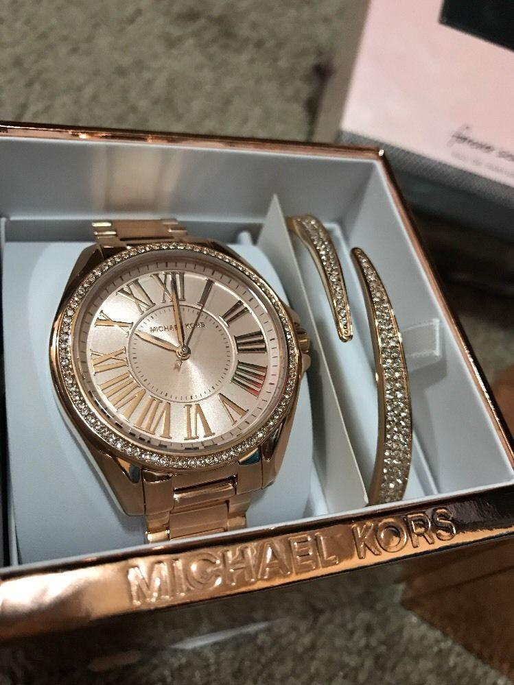 Kacie Stainless Rose Gold-Tone MK3569 Watch and Bracelet Gift Set ...