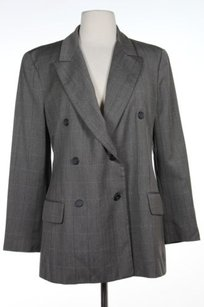 Michael Kors Kors Michael Kors Womens Gray Beige Plaid Long Sleeve Blazer Wool Blend