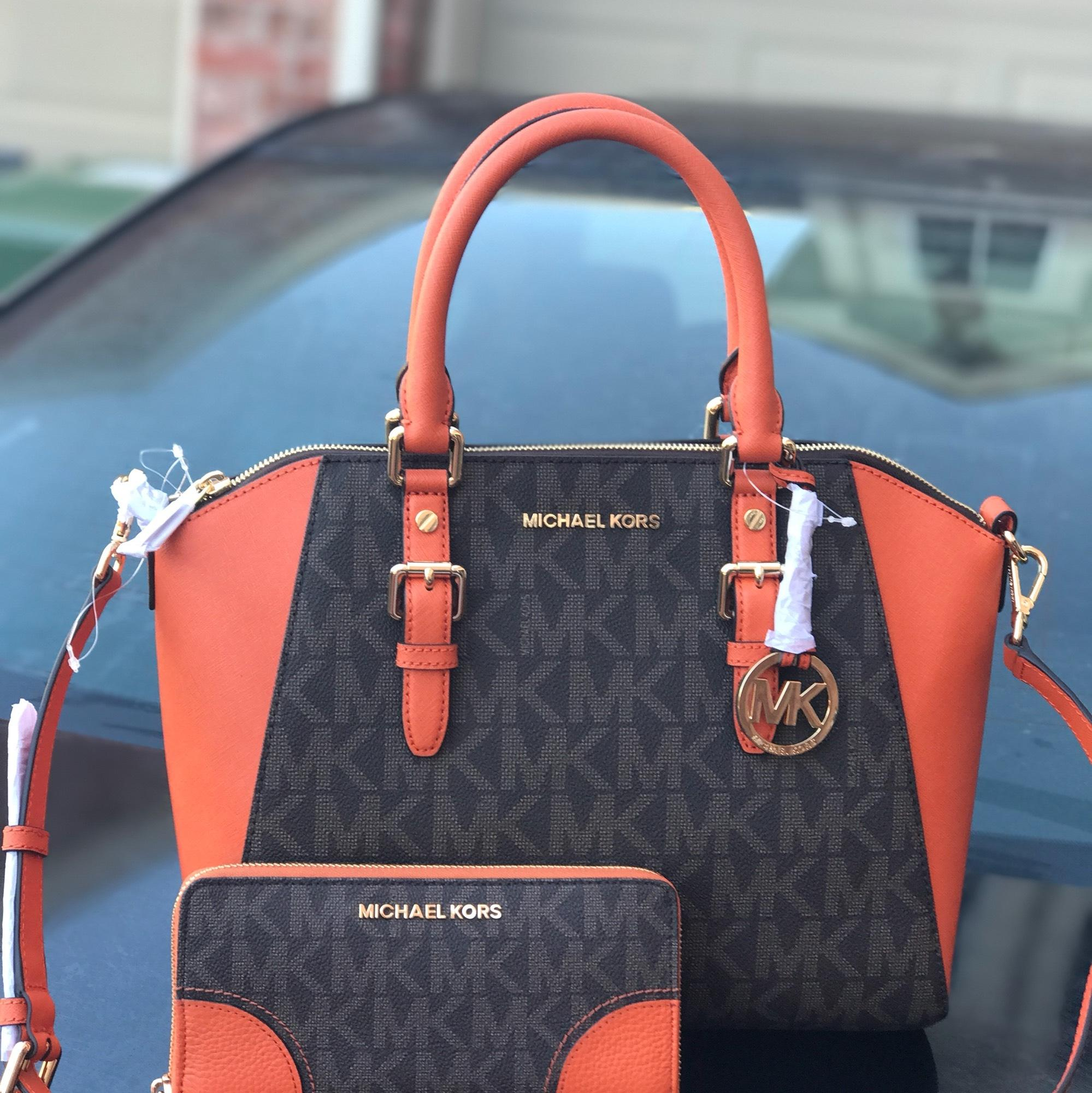 ae3cbe443de2 ... new zealand michael kors large ciara with matching wallet set brown and  tangerine pvc saffiano leather