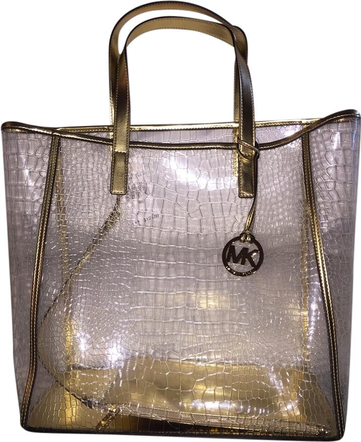 663faffb06f9 ... shopping michael kors tote in clear gold trim 58ed4 6dcc0