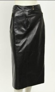 Michael Kors Leather Long Pencil Sale Pencil Sexy Sultry A-line Conservative Vents Leather Italian Leather Skirt Black