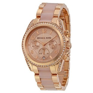 Michael Kors Michael Kors Blair Chronograph Rose Dial Rose Gold-tone And Acetate Ladies Watch