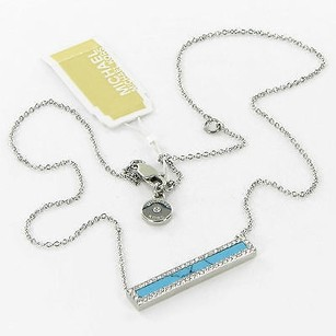 Michael Kors Michael Kors Necklace Semi-precious Turquoise Bar Pave Silver-tone