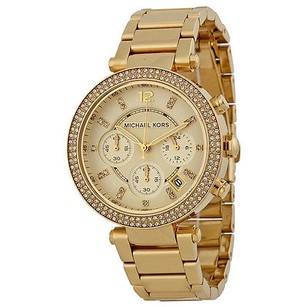 Michael Kors Michael Kors Parker Crystal Chronograph Champagne Dial Gold-tone Ladies Watch
