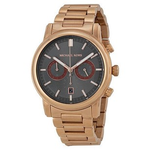 Michael Kors Michael Kors Pennant Chronograph Grey Dial Rose Gold Ion-plated Mens Watch