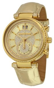 Michael Kors MICHAEL KORS Sawyer Champagne Pave Dial Leather Ladies Watch