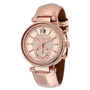 Michael Kors Michael Kors Sawyer Rose Gold Crystal Pave Dial Leather Ladies Watch