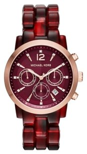 Michael Kors Michael Kors Women's Audrina Burgundy Acetate Chronograph Watch NWT