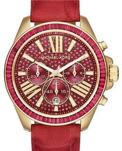 Michael Kors MK2452 WOMEN'S WREN CHRONOGRAPH GOLD TONE BURGUNDY DIAL GLITZ WATCH