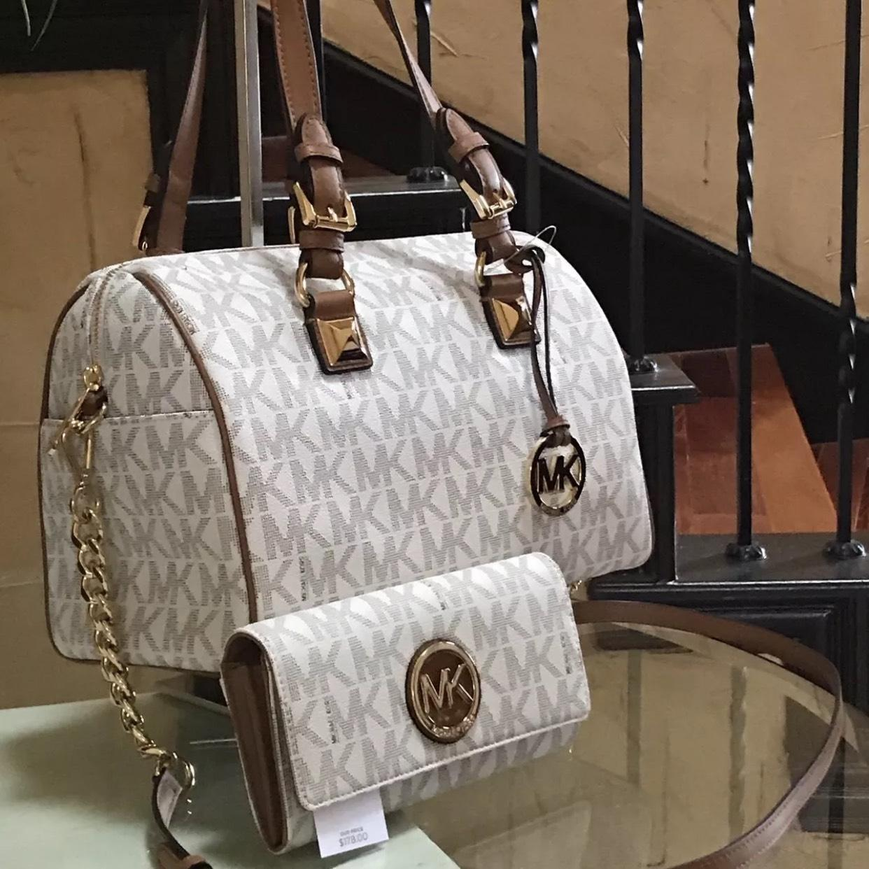 fbbd491fb40a ... spain michael kors mk grayson monogram medium satchel crossbody with  matching wallet set vanilla acorn pvc