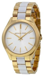 Michael Kors MK4295 Slim Runway White Dial Gold-tone and White Accetate Watch