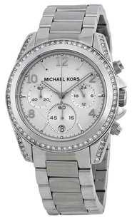 Michael Kors MK5165 Ladies Chronograph White Crystal Stainless Steel Watch