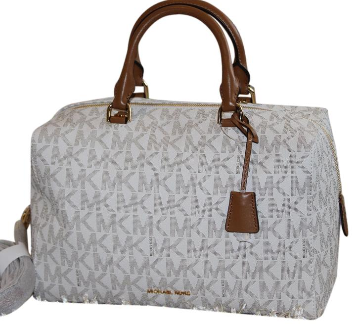 7d8df01bd174 ... coupon code for michael kors kirby mk crossbody strap gold tone  hardware satchel in vanilla 473f5
